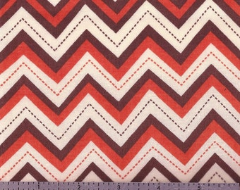 Cotton Fabric - Orange, Brown and Cream CHEVRON Print - by the Yard