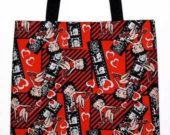 Retro Black and Red Betty Boop Film Strip Carryall Tote Bag