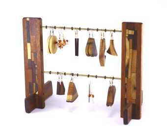 Jewelry Organizer - Jewelry Display - Earring Holder - Wooden Earring Stand - Wood and Mosaics - No Stains or Dyes Used