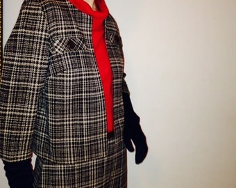 SALE 60's Kimberly 100% Wool Double Knit Plaid Suit Size Small