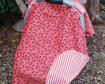 Car Seat Cover - Baby Car Seat Canopy - Nautical Car Seat Canopy - Pink Navy Car Canopy - Girls Car Seat Cover - Baby Shower Gift