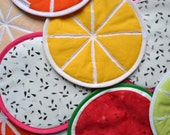 pick your own fruit slices potholders - tutti frutti potholders - choose your flavour potholders - market kitchen shopping - tropical garden
