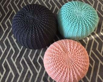 STUFFED Hand Knitted Pouf/Ottoman/Nursery Decor/Baby Shower Gift/Footstool/Pick Color and Size