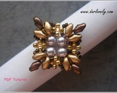 Beaded Ring PDF Pattern - Gold Silver Copper Superduo Ring (RG196) - Beading Jewelry PDF Tutorial (Instant Download)