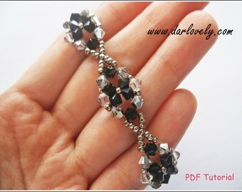 Beading Bracelet Pattern  - Classy Black Crystal Flower Bracelet (BB032) - Beaded Jewelry PDF Tutorial (Digital Download)