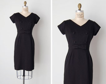 vintage 1960s dress / 60s black dress / black wool dress / The Roosevelt dress