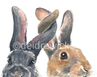 Rabbit Watercolor PRINT - 8x10 Illustration, Bunny Painting, Bunny Rabbit, Nursery Art