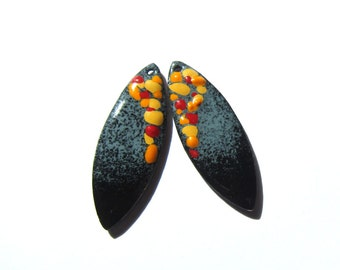 Jewelry charms Enamel charms Black gray enameled copper components Artisan earring findings Handmade beads Yellow focal pendants