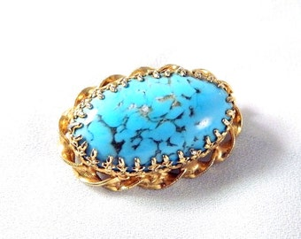 "Vintage AUSTRIA Gold Prong Set Faux Turquoise Brooch - 1 1/2"" Long Signed"