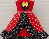 Minnie Mouse Dress Custom Boutique Clothing Med Red Yellow Arch Skirt Sassy Girl