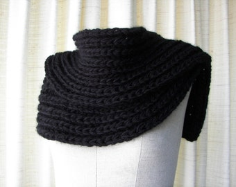Bulky Brioche Hand Knit SOFT SCARF in BLACK Roving Vegan Acrylic / English Rib Scarf/ Boyfriend scarf