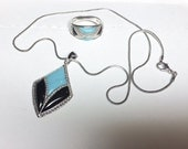 Vintage Turquoise Blue Onyx Black Sterling Silver Taiwan Necklace and Ring size 8 Matching Inlay Inlaid Set 1980s 1990s