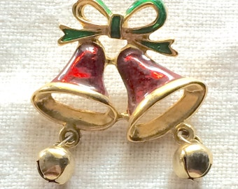 Enamel Bells with dangling bells Pinback Tack Pin Brooch, Vintage Holiday Christmas 1980s 80s 1990s 90s