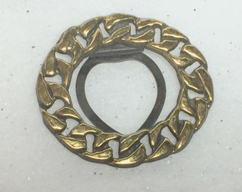 Scarf Clip Slide Clasp Large Gold Tone Oval Chain Link Wreath Vintage Jewelry Accessories