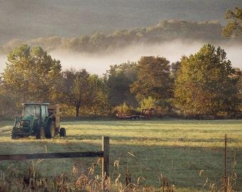 "Fine Art Photograph ""After The Harvest "" Appalachian Photography Large Wall Art Print Rustic Photograph Farm Decor Fog John Deere Tractor"