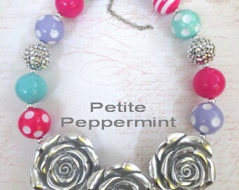 Hot Pink, Lavender, Aqua Baby Chunky Necklace, Chunky Bead Necklace, Toddler, Girl Jewelry, Little Girl Necklace