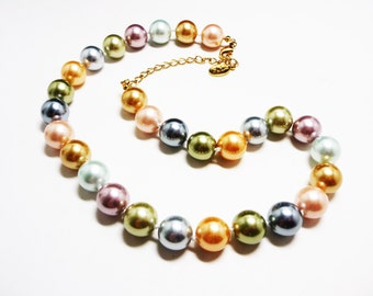KJL Pearlescent Bead Necklace - Pastel Colors - Hand Knotted Beaded Single Strand - Large Beads - Vintage Kenneth Jay Lane Jewelry