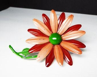 Two tone brown flower power pin - Large brooch - Enamel 1960's Flower Brooch - Mid Century Mod Vintage