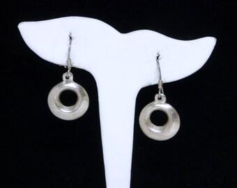 Sterling Silver Hoop Earrings - Dangling Donut Hole Round Earrings for Pierced Ears - Modernist Style Vintage Design