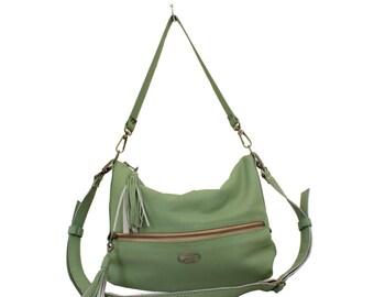 SALE Pear Green Faux Leather Valentina Hobo Bag. Shoulder Handbag. Crossbody Purse. Classy Work Bag. Comfy Slouchy Bag
