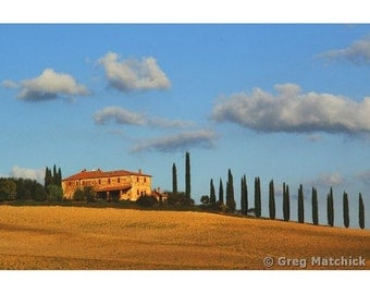 """Fine Art Color Landscape Photography of Tuscany - """"Farmhouse and Ridge of Cypress Trees"""""""