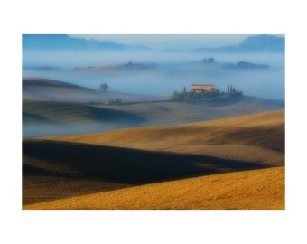"""Fine Art Color Landscape Photography of Tuscany - """"Soft Light and Morning Fog Over the Tuscan Landscape"""""""