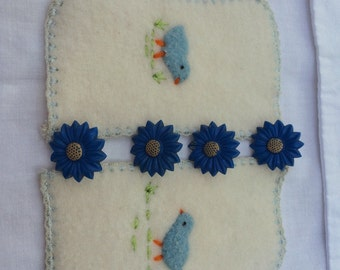 Blue Collection Mixed Lot of Fancy Flower Tacks and Felted pieces A Collection Bits n Bobs To Upcycle Blue Button Daisy Like Push Pins