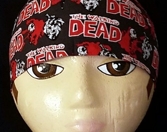 The Walking Dead Skull or Chemo Cap, Glows in the Dark, Surgical Cap, Motorcycle, Hat, Head Wrap, Hair Loss, Do Rag, Alopecia, Helmet Liner