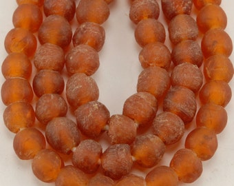 African Recycled Bottle Glass Beads - Orange