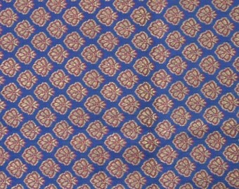 red and blue brocade fabric  - 1 yard - br092