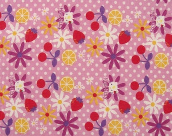 cotton print fabric - hello kitty with flowers and fruits on pink - 1 Yard ctnp300
