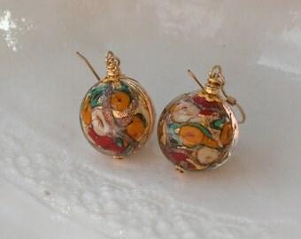 Maroon Murano Glass Heart Earrings
