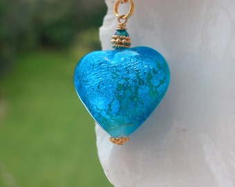 Large Blue Venetian Murano Glass Necklace, Exclusive