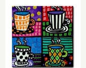 60% Off Today- Coffee Cups art Tile Ceramic Coaster Mexican Folk Art Print of painting by Heather Galler dog