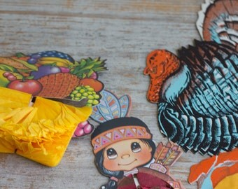 Vintage Paper, Thanksgiving Paper, Vintage Thanksgiving, Beistle 1980's, Tissue Paper, Paper Turkey, Paper Indian, Paper Fruit, Scrapbooking