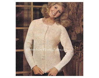 Vintage Crochet classic cardigan jacket vintage 60s with crochet buttons  Dorset buttons PDF 866 from WonkyZebra