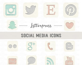 Letterpress SOCIAL MEDIA ICONS // Png Files  // Vintage Style // Blog // Website // Photography // Personal-Use // Instant Download