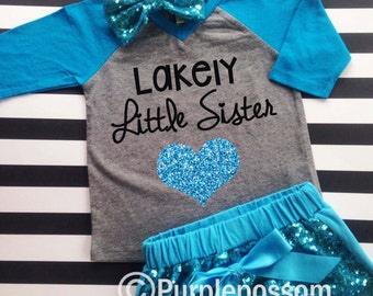 Little Sister Shirt with Sparkly Glitter Heart Choice of Color Little Sister Raglan Shirt Pregnancy Reveal Big Sister Shirt Glitter Sister