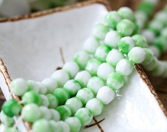 Vintage Glass Beads Apple Green and Snowy White Faceted 7mm Beads, Vintage West Germany Bicolor Beads, Vintage 2 Tone Beads