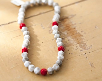 Vintage Gray White and Red Soft Faceted Round Glass Beads