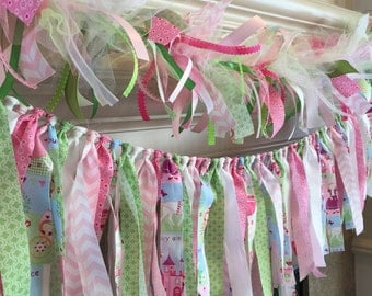Princess Birthday Garland, Princess Party Fabric Garland, Princess Party, Princess and Frog Party Decor, Princess Garland