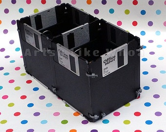 "Retro 3.5"" Floppy Disk Caddy Boxes | Eco-Friendly Upcycled Desk Organizer | Black Floppy Diskettes |Geek/Nerd Desk Decor"