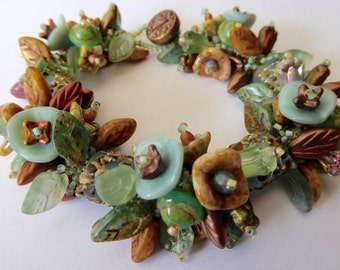 Made to Order  Garden Bracelet Kit in Sand and Sea Colors/Shades of Soft Ernite Greens, Copper, Browns and Blues