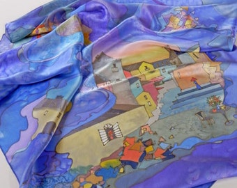 Womens Gift, Natural silk satin shawl Italy, Square Blue Silk Scarf, hand painted scarf, Unique women birthday gift, Wearable art