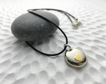 Forever in my heart pendant jewelry keepsake - freecast lead-free pewter pebble with nugold heart - love motherhood sister bff pendant
