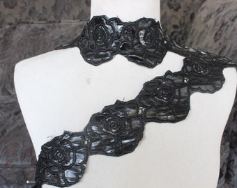 Very nice embroidered   flower trim  black color    1 yard listing