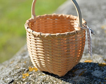 Tiny Cat's Head Shaker Style Basket Nina Webb Basket Handwoven Rattan