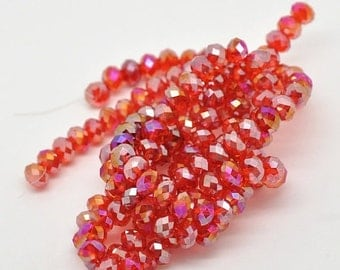75% CLEARANCE SALE - WHOLESALE Glass Beads - Red Crystal Rondelle Beads 6x8mm Ab Faceted Oval 140pcs