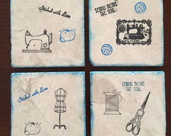 Drink Coaster ** Sewing ** Set of 4 tile Coasters ** Gift for Mom