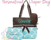 Personalized Diaper Bag, Aqua Quatrefoil Monogrammed Baby Tote, Changing Pad, Mommy Bag